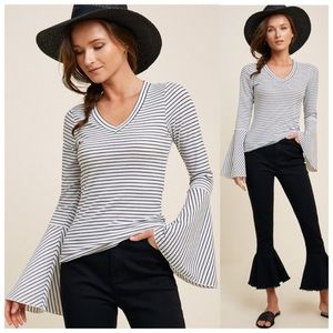 Robbed Striped Bell Sleeve Top